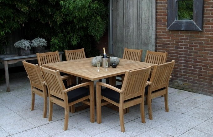 Teak Dinner Table Square - Excellent 25% KORTING 1